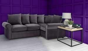 Velvet Grey 2c1 Corner Charlotte Sofa With Scatter Cushions