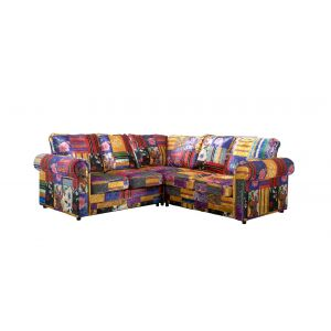 Fabric Patchwork 2c2 Seater Charlotte Sofa with High Back