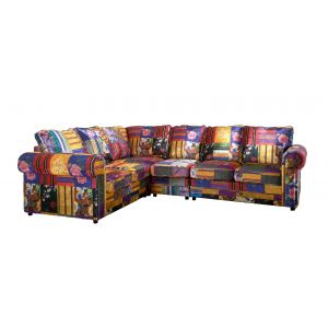 Fabric Patchwork 2c3 Seater Charlotte Sofa with High Back