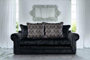 Crushed Velvet Black 3 Seater Charlotte Munich Sofa