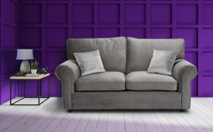 Velvet Grey 2 Seater Charlotte Sofa With High Back And Contrasting Pillows