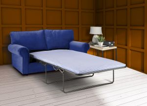 Velvet Blue 3 Seater Charlotte Sofa Bed With High Back