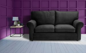 Velvet Black 3 Seater Charlotte Sofa With High Back