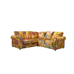 Fabric Gold Patchwork 2c2 Seater Charlotte Sofa with High Back