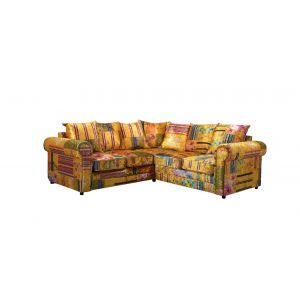Fabric Gold Patchwork 2c2 Seater Charlotte Sofa with Scatter Cushions