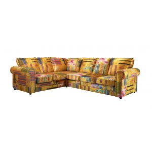 Fabric Gold Patchwork 2c3 Seater Charlotte Sofa with High Back