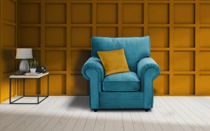 Velvet Turquoise / Teal Armchair Charlotte With Contrasting Pillows