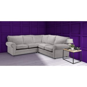 Velvet Light Grey 2c2 Corner Charlotte Sofa with High Back