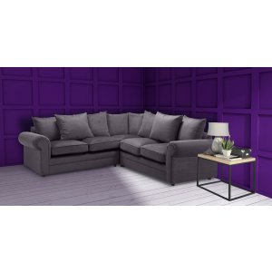 Velvet Grey 2c2 Corner Charlotte Sofa With Scatter Cushions
