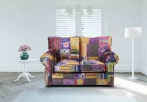 Fabric Patchwork 2 Seater Charlotte Sofa With High Back