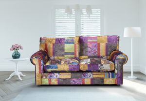 Fabric Patchwork 3 Seater Charlotte Sofa With High Back