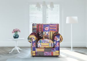 Fabric Patchwork Armchair Charlotte With High Back