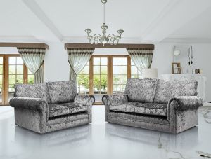 Crushed Velvet Silver 3 + 2 Seater Charlotte Sofa Set with High Back