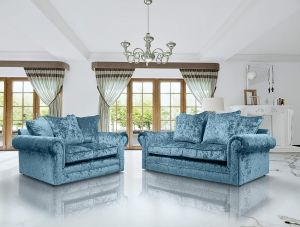Crushed Velvet Aqua Blue 3 + 2 Seater Charlotte Sofa
