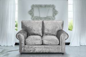 Crushed Velvet Silver 2 Seater Charlotte Sofa With High Back
