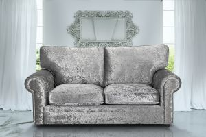 Crushed Velvet Silver 3 Seater Charlotte Sofa With High Back