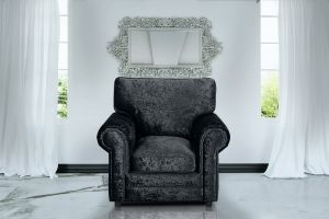 Crushed Velvet Black Armchair Charlotte With High Back