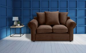 Velvet Brown 2 Seater Charlotte Sofa With Scatter Cushions