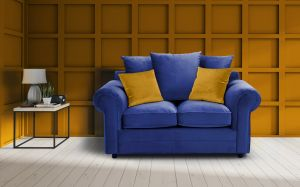 Velvet Marine Blue 2 Seater Charlotte Sofa With Scatter Cushions And Contrasting Pillows