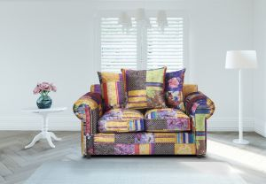 Fabric Patchwork 2 Seater Charlotte Sofa With Scatter Cushions