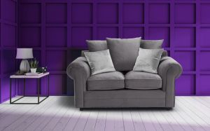 Velvet Grey 2 Seater Charlotte Sofa With Scatter Cushions And Contrasting Pillows