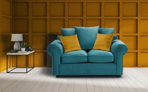 Velvet Turquoise / Teal 2 Seater Charlotte Sofa With Scatter Cushions And Contrasting Pillows