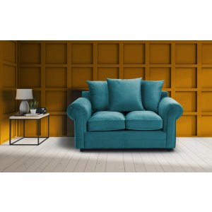 Velvet Turquoise / Teal 2 Seater Charlotte Sofa With Scatter Cushions