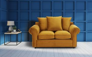 Velvet Mustard Gold 2 Seater Charlotte Sofa With Scatter Cushions