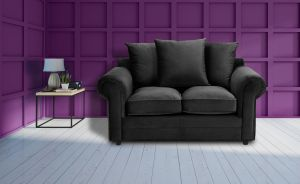 Velvet Black 2 Seater Charlotte Sofa With Scatter Cushions