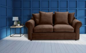 Velvet Brown 3 Seater Charlotte Sofa With Scatter Cushions