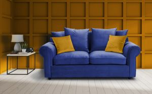 Velvet Marine Blue 3 Seater Charlotte Sofa With Scatter Cushions And Contrasting Pillows