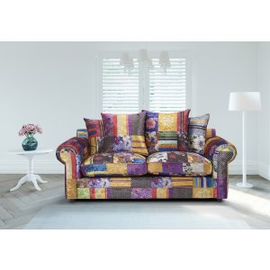 Fabric Patchwork 3 Seater Charlotte Sofa With Scatter Cushions