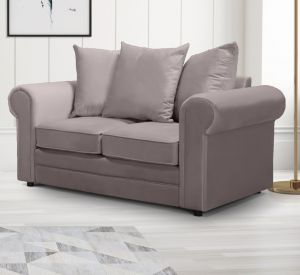 Velvet  Grey 2 Seater Charlotte Sofa With Scatter Cushions