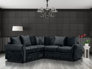 Crushed Velvet Black 2c2 Corner Charlotte Sofa With Scatter Cushions
