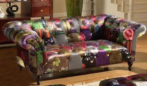 Fabric Patchwork Chesterfield 2 Seater Avici Scroll Sofa