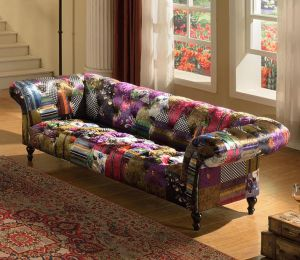 Fabric Patchwork Chesterfield 3 Seater Avici Scroll Sofa