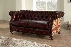 Leather Chesterfield Brown 2 Seater Union Sofa Suite With Faded Flag