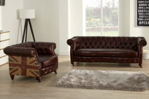 Leather Chesterfield Brown 3 + 1 Union Sofa Suite With Faded Flag