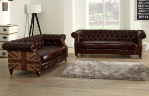 Leather Chesterfield Brown 3 + 2 Union Sofa Suite With Faded Flag