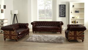 Leather Chesterfield Brown 3 + 2 + 1 Union Sofa Suite With Faded Flag