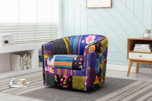 Fabric Patchwork Chesterfield Veronica Swivel Chair