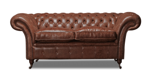 Leather Chesterfield Brown 2 Seater Churchill Contemporary Sofa