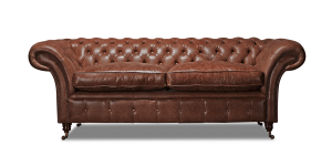 Leather Chesterfield Brown 3 Seater Churchill Contemporary Sofa