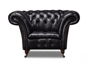 Leather Chesterfield Black 1 Seater Collingwood Sofa