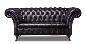 Leather Chesterfield Black 2 Seater Collingwood Sofa
