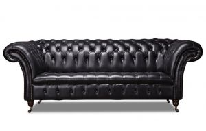 Leather Chesterfield Black 3 Seater Collingwood Sofa