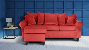 Velvet Coral St Moritz Corner Sofa With Reversible Chaise