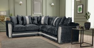 Crushed Velvet Black Corner Essex Sofa