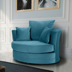 Velvet Cerulean Blue Chelsea Cuddle Chair