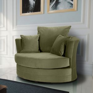 Velvet Olive Green Chelsea Cuddle Chair